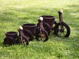 Vessző kaspó biciklis (sötétbarna) M 40x25x35cm