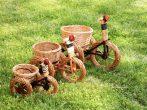 Vessző kaspó biciklis Natúr (világos) S 30x20x25cm