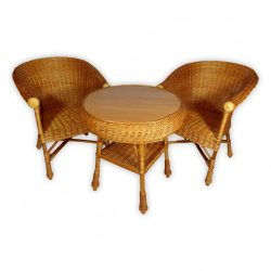 Fonott rattan kerti bútor garnitúra 3 részes
