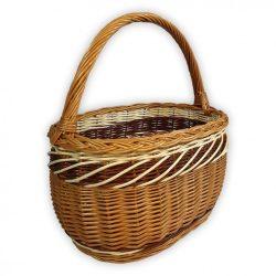 Bevásárlókosár barna,fehér díszítéssel 40x27x22(44)